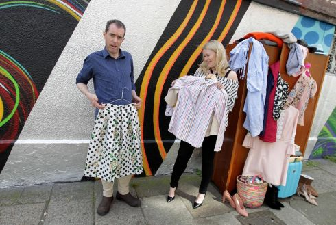 JOB'S OXFAM: Lorna Weightman launches the latest campaign to banish bursting wardrobes with the charity's home and shop manager Paul Houlihan on Francis St, Dublin. Photograph: Mark Stedman