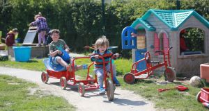 Children playing in the outdoor play garden of Rathoe Community Childcare Centre, Rathoe, Co Carlow. Experts say too much screen-time and inactivity is depriving young people of vital lifeskills.