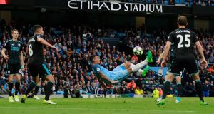 Manchester City's Gabriel Jesus attempts an overhead kick during their Premier League win over West Brom. Photo: Jason Cairnduff/Reuters