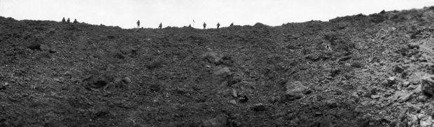 One of the vast craters left in Messines by the mines that started the offensive. Photograph: Getty