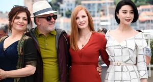 French actor and director Agnes Jaoui, Spanish director Pedro Almodovar, US actor Jessica Chastain and Chinese actor Fan Bingbing ahead of the opening of the 70th Cannes Film Festival. Photograph: Anne-Christine Poujoul/AFP/Getty