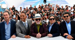 Members of the Cannes Feature Film Jury: Italian director Paolo Sorrentino, US actor Will Smith, Spanish director Pedro Almodovar, South Korean director Park Chan-wook and French music composer Gabriel Yared. Photograph: Loic Venace/AFP/Getty Images
