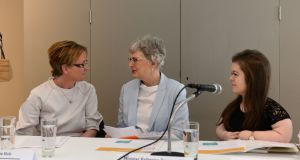 Women's Aid Impact Report: Prof Stephanie Holt, Minister for Children Katherine Zappone and Sinéad Burke at the launch on Wednesday. Photograph: Dara Mac Dónaill
