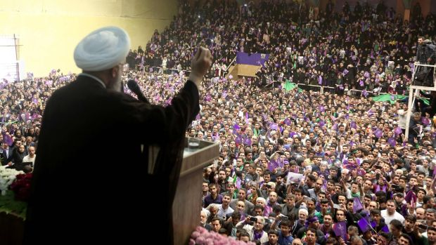 Iranian president and candidate in the upcoming presidential elections Hassan Rouhani during a campaign rally in the northwestern city of Ardabil. Photograph: Getty Images
