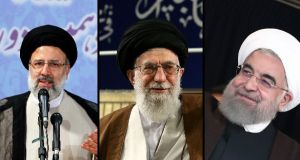 Iranian elections: Supreme leader Ayatollah Ali Khamenei (centre) felt it necessary to intervene in the increasingly testy presidential election race between Ebrahim Raisi (left) and Hassan Rouhani.