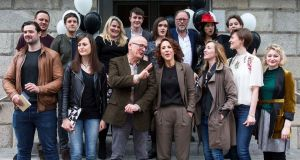 Selina Cartmell  at the launch of her inaugural season at the Gate Theatre with artistic collaborators including, from left to right,  back row:  Ray Scannell (actor), Emmet Kirwan (actor and writer), Nancy Harris (playwright), Paul Mescal (actor), Aoibheann McCann (actor), Owen Row (actor), Camille O'Sullivan (singer), Oonagh Murphy (director). Front row: Gerard Kelly (actor), Clare Dunne (actor), Roddy Doyle (writer), Selina Cartmell, Annabelle Comyn (director), Rachel O'Byrne (actor) and Katie Davenport (designer in residence at the Gate Theatre).