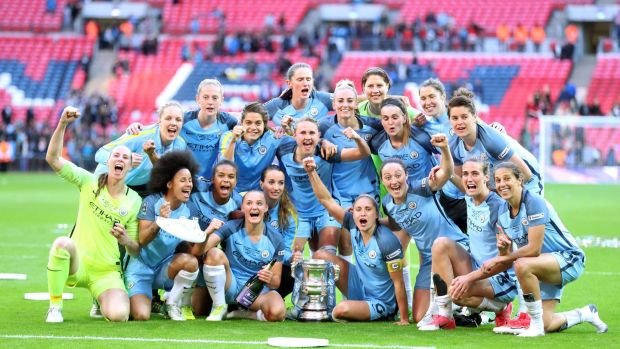 Manchester City Women celebrate winning the FA Cup after beating Birmingham City 4-1 at Wembley Stadium, London. Photograph: Adam Davy/PA