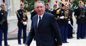 French centrist politician Francois Bayrou arriving at the Élysée Palace on Sunday. Bayrou has been named justice minister, the  fourth-ranking position in the French government. Photograph: Christophe Ena/AP
