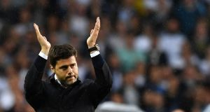 Mauricio Pochettino of Spurs during a  stadium closing ceremony at White Hart Lane in London on Sunday. Photograph: Ben Stansall/AFP/Getty Images