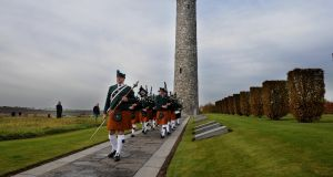Members of the Metropolitan Police Service Emerald Society Pipe and Drum Band  in the Island of Ireland Peace Park in Messines on Remeberance Sunday  2008. Photograph: Aidan Crawley