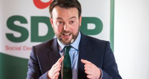 SDLP leader Colum Eastwood at the launch of his party's Westminster  election campaign at the Newcastle Centre, in Co Down. Photograph: Liam McBurney/PA Wire.