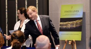 Taoiseach Enda Kenny launching the Finite Lives report by Senator Marie-Louise O'Donnell at Government Buildings. He then announced he was  stepping down. Photograph: Dara Mac Dónaill