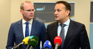 Leo Varadkar and  Simon Coveney: both leadership candidates will now get to show their mettle.  Photograph: Dara Mac Donaill