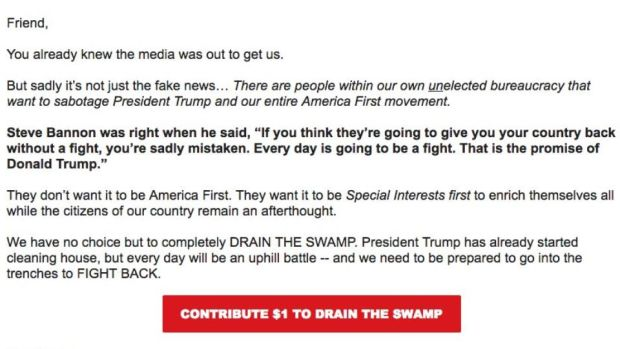 "Team Trump: a campaign email urging the president's supporters ""to go into the trenches to FIGHT BACK"""