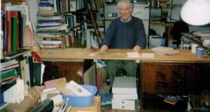 Seamus Heaney in his attic study in Sandymount, Dublin