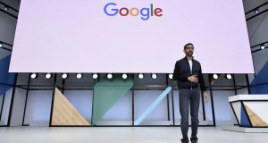 Google chief executive Sundar Pichai addresses the Google I/O Annual Developers Conference in Mountain View, California on Wednesday. Photograph: Bloomberg