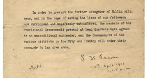 1916 Rising surrender order: It is not known exactly how many typed copies were produced, but it is thought to be in single figures