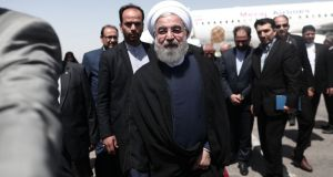 Iranian president and candidate in the imminent presidential election, Hassan Rouhani, at Hasheminejad international airport in the northeastern city of Mashhad on May 17th, 2017.  Photograph: Behrouz Mehri/AFP/Getty Images