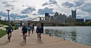Biking on North Shore trail in Pittsburgh, Pennsylvania.
