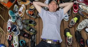 Peter Kendrick with a small sample of his 300-strong sneaker collection. Photograph: Brenda Fitzsimons