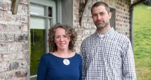 Ceramicists Rosemarie Durr and Andrew Ludick outside the Gardener's Cottage in Castlecomer, Co Kilkenny