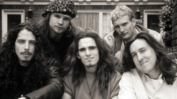 Chris Cornell in a promotional still from the movie Singles, with Jeff Ament (Pearl Jam), Matt Dillon, Layne Staley (Alice in Chains) and director Cameron Crowe. Photograph: Warner Bros