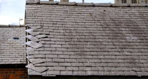 Loose slates: A full roof survey inspection should be undertaken immediately by a competent professional to establish the condition of a damaged roof.
