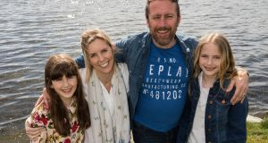 Sherna Malone and husband Brendan McCormack, with twin daughters Ella (left) and Zoe in Rosscarbery, Co Cork.  Photograph: Emma Jervis Photography