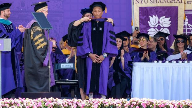 Pharrell Williams during the NYU 2017 commencement on May 17th. Photograph: Getty Images