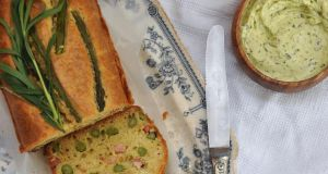 Asparagus and pancetta cake with tarragon whipped butter