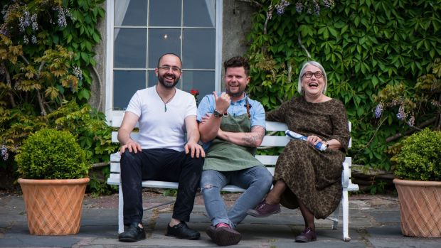 The calm before the storm: Richard Falk and Robin Gill take a pre-festival breather with Darina Allen outside Ballymaloe House on the first day of LitFest 2017. Photograph: Joleen Cronin