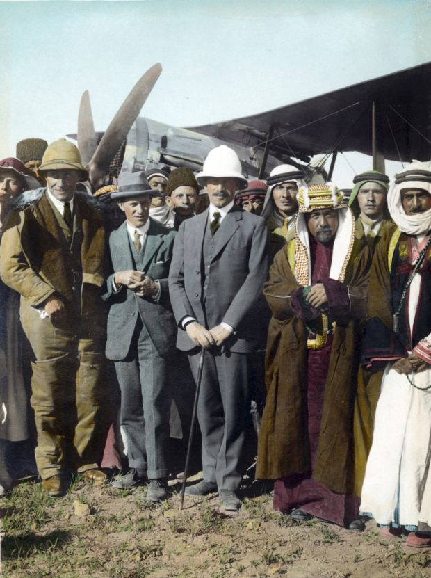 Sir Herbert Samuel, British High Commissioner of Palestine, centre, with Emir Abdullah and TE Lawrence at Amman, Jordan, in April 1921. Photograph: Getty Images