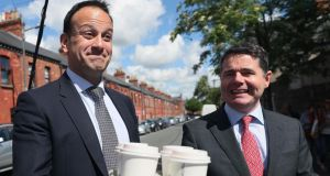 Fine Gael leadership race: Leo Varadkar, who has extended his advantage over Simon Coveney, and Minister for Public Expenditure Paschal Donohoe. Photograph: Brian Lawless/PA Wire