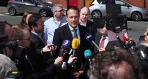 Campaigning: Leo Varadkar speaks to the media on Leo Street in Dublin on Friday. Photograph: Brian Lawless/PA Wire