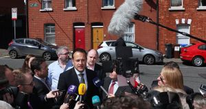 Minister for Social Protection Leo Varadkar speaking to the media on Leo Street in Dublin  leadership of Fine Gael. Photograph: Brian Lawless/PA Wire
