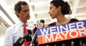 Former mayoral candidate for New York Anthony Weiner and his estranged wife Huma Abedin at news conference in New York in 2013. File photograph: Eric Thayer/Reuters