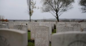 The grave of an unknown Irish Soldier lies in the Messines Ridge military cemetry in Belgium. Photograph: Aidan Crawley