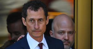 Former US congressman Anthony Weiner leaves Federal Court in New York after pleading guilty to one count of sending obscene messages to a minor. Photograph: Timothy A Clary/AFP/Getty Images