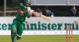 Bangladesh opening batsman Tamim Iqbal in action during the   Tri-Nation Series match against Ireland at Malahide. Photograph:  Paul McErlane/AFP/Getty Images