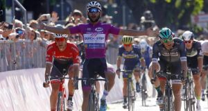 Colombian Fernando Gaviria crossing the line to win ahead of Ireland's Sam Bennett (right) in the 13th stage of the Giro d'Italia from Reggio Emilia to Tortona. Photograph: AFP