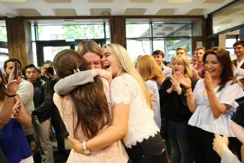 FINAL RESULTS: The Royal College of Surgeons in Ireland has handed out final-year results to 274 medical students. Following a college tradition of more than 60 years, the results were called out to students at the St Stephen's Green campus. Picture shows Zoe Lynch, Chloe Doran (centre) and Sarah Hoolahan (left) celebrating their performance. Photograph: Julien Behal