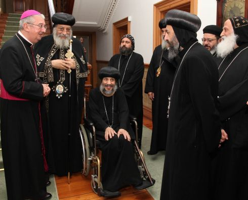 COPTIC POPE: Archbishop of Dublin Diarmuid Martin greets Coptic Orthodox leader Pope Tawadros II and his delegation at Archbishop's House in Dublin. It is the first time that Pope Tawadros visited Ireland as head of the Coptic Orthodox Church. Photograph: John McElroy