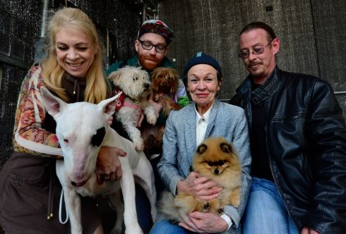 MUSIC FOR DOGS: Performance artist Laurie Anderson holds Sima after her concert, Music for Dogs, at the National Concert Hall in Dublin. Also in picture are, left, Isabel Araujo, of Brazil, with Megan; Rob McGlade, James's Street, Dublin, holding Rosie, and Felicia and Justin Carroll from Lusk. Photograph: Cyril Byrne/The Irish Times