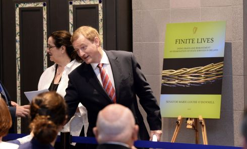 FINITE LIVES: Taoiseach Enda Kenny TD launches the Finite Lives report by Senator Marie-Louise O'Donnell at Government Buildings, Dublin. Photograph: Dara Mac Dónaill/The Irish Times