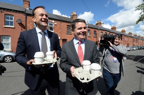 VARADKAR AMBITIONS: Minister for Social Protection Leo Varadkar with Minister for Public Expenditure and Reform Paschal Donohoe on Leo Street in Dublin, where Mr Varadkar announced his intention to run for the leadership of Fine Gael. Photograph: Cyril Byrne/The Irish Times