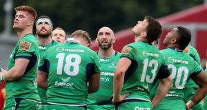 Connacht's John Muldoon with his teammates after their defeat to Munster earlier this month. Photograph: Billy Stickland/Inpho