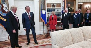 US president Donald Trump meets with Russian officials at the White House in Washington. Photograph: Russian Foreign Ministry via The New York Times