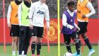 Angel Gomes of Manchester United in action during a first team training session at Aon Training Complex. Photograph: Getty Images