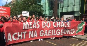 Thousands of people marched in Belfast on Saturday calling for an Irish Language Act. Photograph: Amanda Ferguson