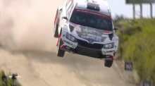 Spectacular crash in Portugal rally holds up race